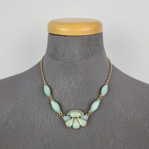 Gold Tone Mint Faceted Statement Necklace